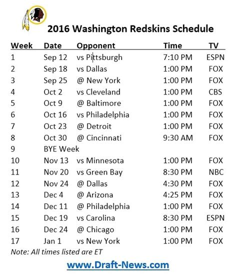 printable nfl schedule pdf printable 2016 washington redskins schedule draft news