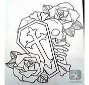Cross Coffin Skull And Roses Outline Tattoo Designs