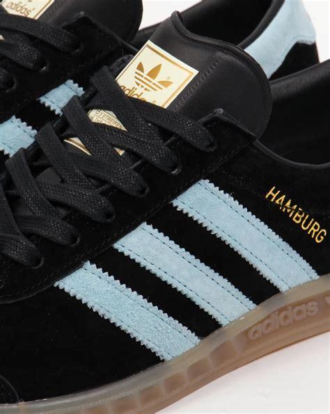 Adidas Hamburg Black Blush Blue adidas hamburg trainers black blush blue originals shoes