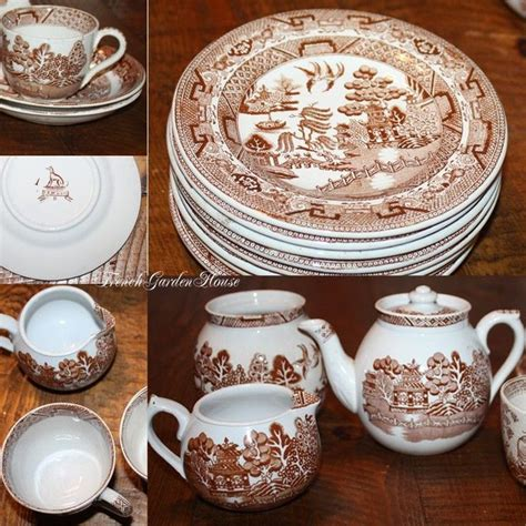 brown pattern dinnerware brown willow pattern plates and dishes pinterest
