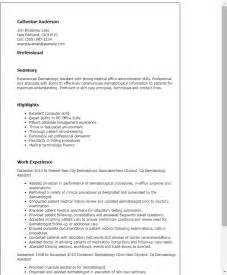 Dermatology Assistant Sle Resume by Professional Dermatology Assistant Templates To Showcase Your Talent Myperfectresume
