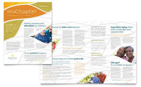 Assisted Living Newsletter Template Design Free Publisher Design Templates
