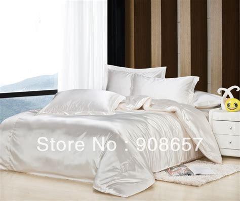 comforter fabric cream white luxurious smooth shiny imitated silk satin