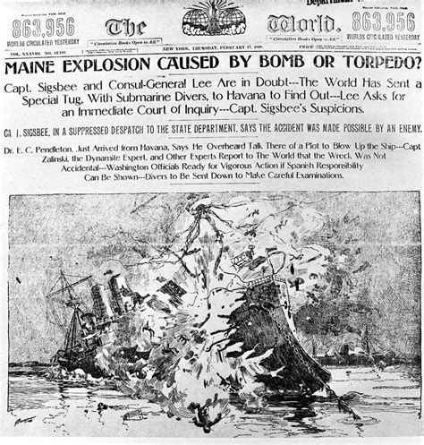 The Sinking Of The Maine by Yellow Press Headlines Imperialism And The Spanish