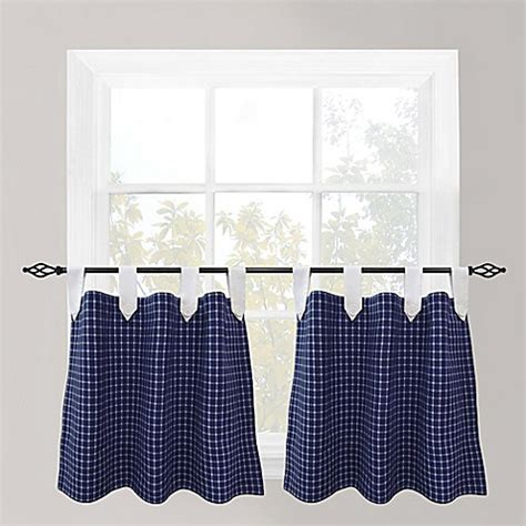 24 inch cafe curtains buy park b smith picnic 24 inch check tab top cafe