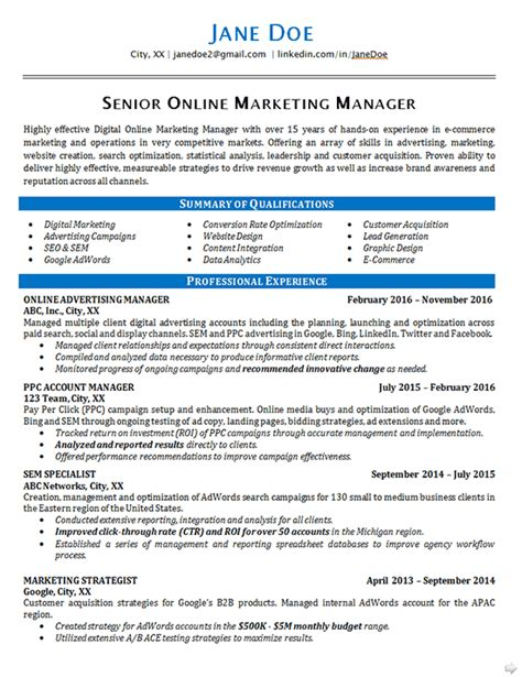 marketing resume exle seo advertising