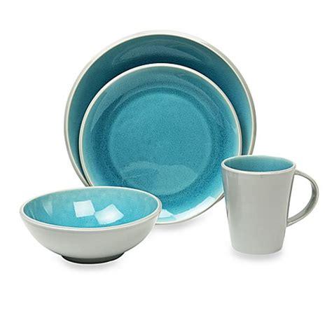 baum canvas crackle 16 piece dinnerware set in teal www bedbathandbeyond com