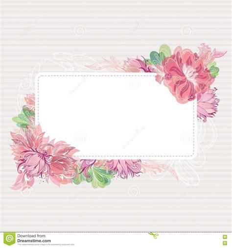 Pink Blossom Refrigerator Cover Single Shabby Vintage Flower vector card template with floral border stock