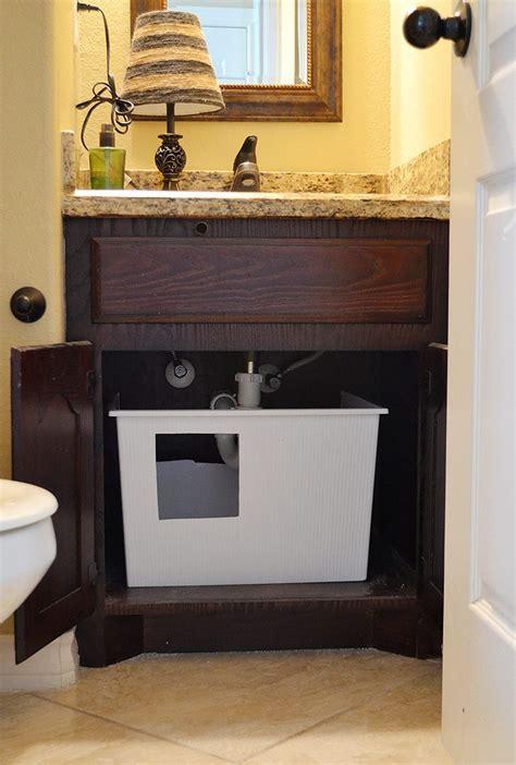 bathroom litter box diy under sink litter box dream a little bigger