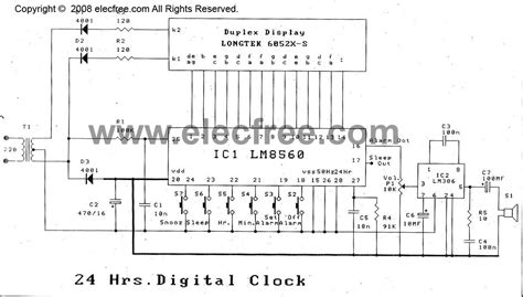 digital clock circuit  alarm  lm