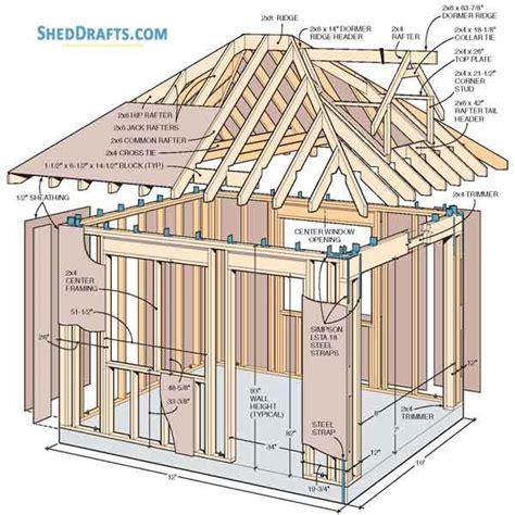 hip roof storage shed dormer plans blueprints