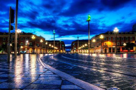 evening lights in nice france wallpapers and images