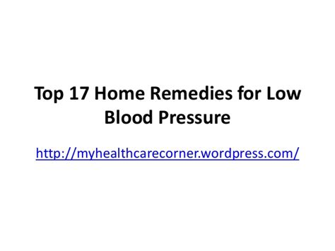 top 17 home remedies for low blood pressure