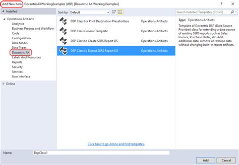 Create Ssrs Report Template Visual Studio Templates For Dsp Classes Docentric Ax