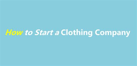starting up a clothing business startmyline