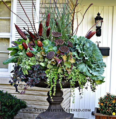 Porch Flower Planters by Fall Front Porch And Fabulous Urn Planter Fox Hollow Cottage