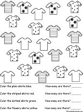 Tshirt Cats Alba Match Item sorting color and count the shirts worksheet printout