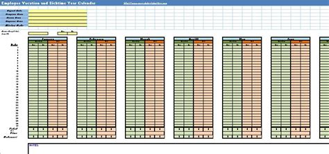 Sick And Vacation Spreadsheet by Staff Vacation Planner Template Calendar Template 2016