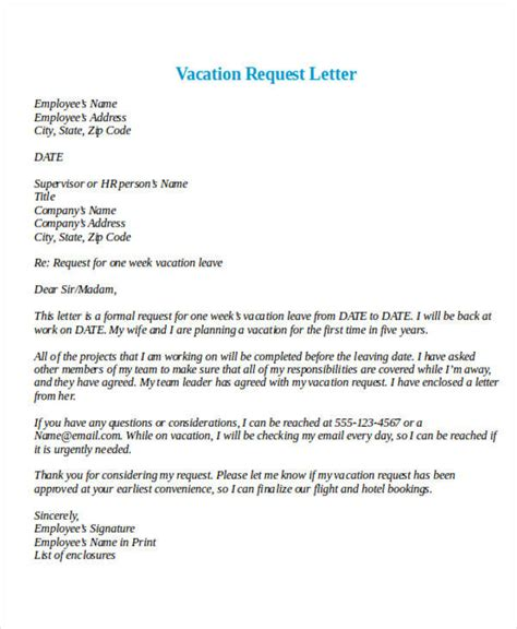 Request Paid Vacation Letter Formal Request Letters