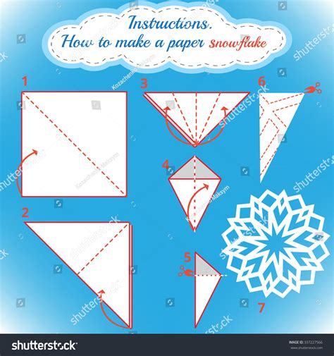 How Do You Make Paper Snowflakes Step By Step - royalty free how to make paper 337227566
