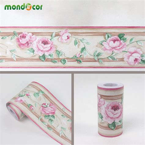 B048 Wall Border Sticker 10cm X 10m 10m classical floral stickers vinyl waterproof waistline self adhesive wallpaper kitchen