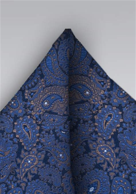 Handmade Pocket Square - handmade silk pocket square with paisley pattern ties