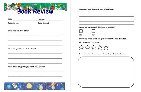 workbook template book report worksheet