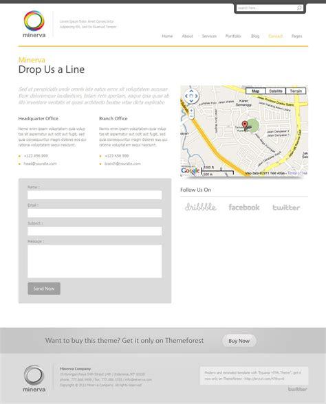 themeforest contact minerva minimalist business wordpress theme by indonez