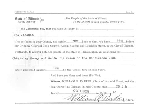 Chicago Arrest Warrant Search Shoeless Joe Jackson Of Fame 1921 Trial Related