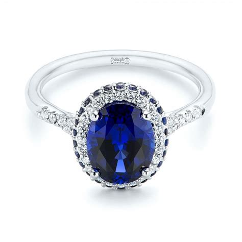 sapphire and engagement rings custom blue sapphire and halo engagement ring 103041