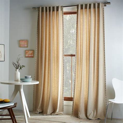 west elm curtain panels studded wool curtain heathered oatmeal west elm