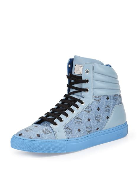 mcm mens sneakers lyst mcm monogrammed high top sneakers in blue for