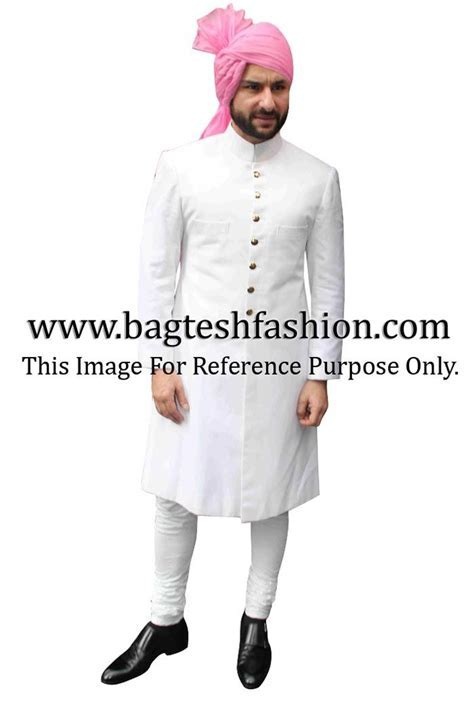 Saif Ali Khan in White Sherwani   Bollywood Mens Outfits