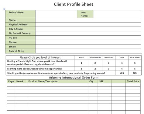 customer profile form template profile sheet template images