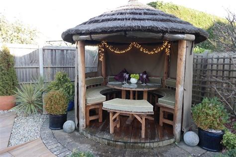 Thatched garden hut gazebo outdoor dining seating bbq shelter heater all year round