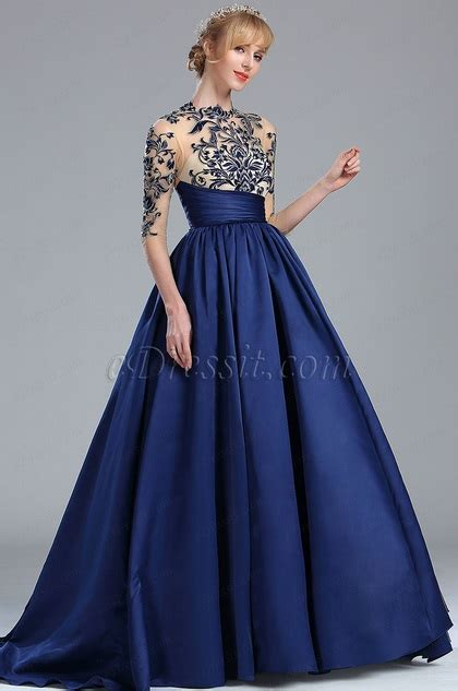 edressit blue long sleeves embroidery beaded evening gown