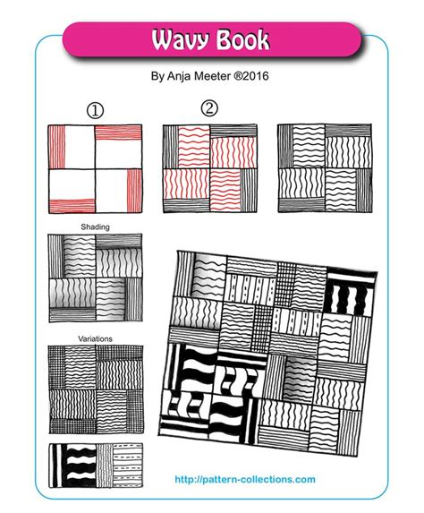 zentangle pattern collection wavy book tangle pattern by anja meeter patterncollections