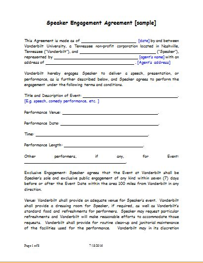 Letter Of Agreement Speaker Speaker Engagement Contract Sle For Word Document Templates