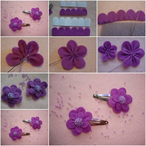 Handmade Felt Flowers Tutorial - how to make felt morning flower step by step diy tutorial