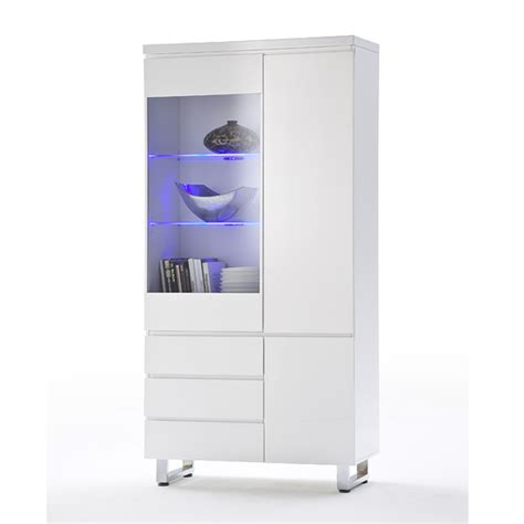 sydney display cabinet in high gloss white with led lights