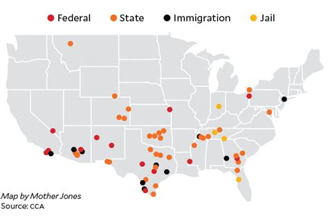 federal prisons in texas map the corrections corporation of america by the numbers jones