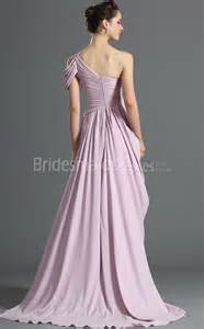 a line lavender chiffon one shoulder floor length with