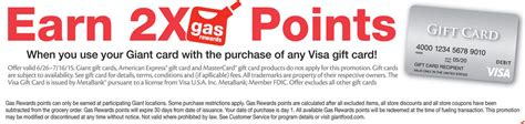 Stop And Shop Gift Cards Gas Points - 2x fuel points at giant stop shop on visa gift cards up to 1 00 off per 500 visa