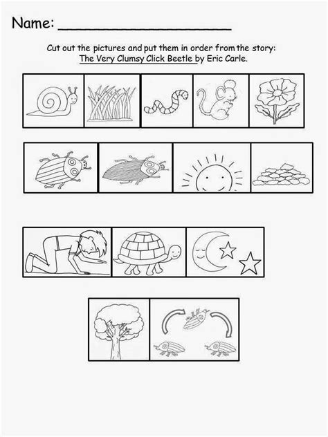 firefly story card template free eric carle s the clumsy click beetle sequencing