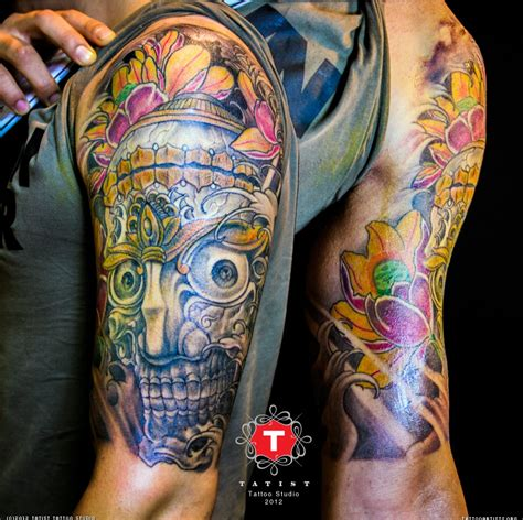 color sleeve tattoos tattoos ie color skull sleeve