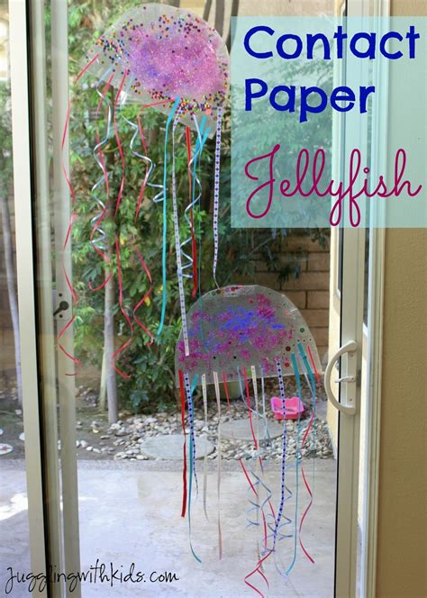 Paper Jellyfish Craft - contact paper jellyfish juggling with