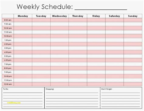 inspirational hourly weekly calendar template pan card