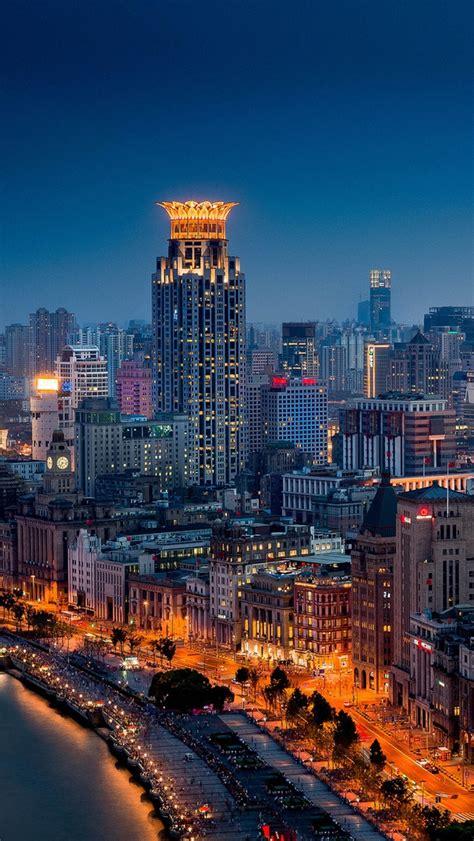 huangpu shanghai china night city buildings iphone