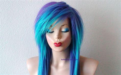 emo hairstyles wigs custom order scene wig emo wig teal purple wig long