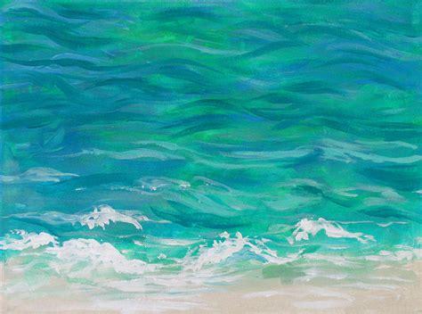 acrylic painting waves gentle waves original acrylic tropical painting painting